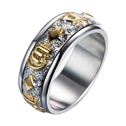 9015cd71c14b7 PAMTIER Men's Stainless Steel Buddhist Six Words Mantra Scriptures Spinner  Ring Gold Size 12