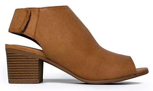 Peep Toe Bootie – Low Stacked Heel - Open Toe Ankle Boot Cutout Velcro Enclosure,Tan Pu,8 B(M) US by J. Adams (Image #2)