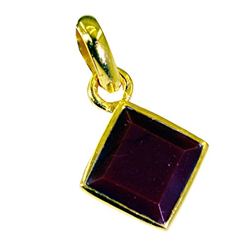 Caratyogi Gold Plated Ruby CZ Pendant Necklace for Women July Birthstone Chakra Healling Square Shape Design Beads
