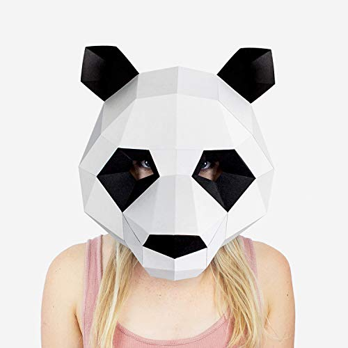 Panda Mask | Animal Mask | DIY Paper Mask | Halloween Mask | Adults & Children | Geometric 3D Design | Low Poly Mask White, ()