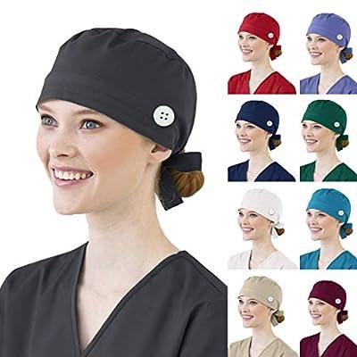 KYLEON Surgical Cap Scrub Hat Medical Bouffant Caps Sweatband Elastic Head Covers Headwear for Nurse Doctor Women Men: Clothing