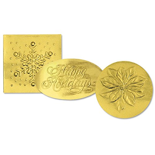 - Holiday Gold Foil Seals, Poinsettia, Snowflake, Happy Holidays, 1¼ Inch, Self Adhesive, 45 Count