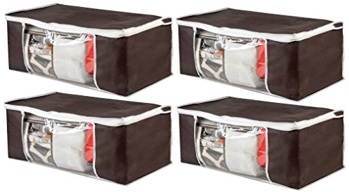 Luxehome Natural Thickened Non Woven Coffee Color Under Bed or Closet Storage Boxes, Set of 4
