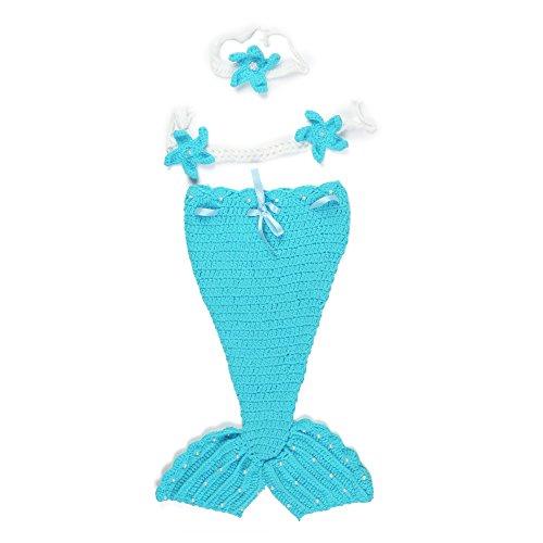 [3Pcs Princess Mermaid Tail Crochet Costume Set for Baby Girl Newborn Photography] (0-3 Month Swimming Costumes)
