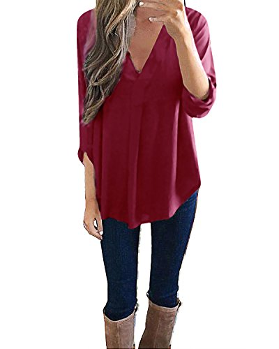 StyleDome Women's Elegant Long Sleeve Flare Blouses V Neck Pockage Casual Shirts Loose Soild Tee Tops Wine Red S