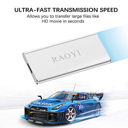 RAOYI 120GB USB 3.0 External Portable SSD, Ultra Slim Solid State Drive High Speed Write/Read up to 300/400 MB/s Aluminum, Silver by RAOYI (Image #1)