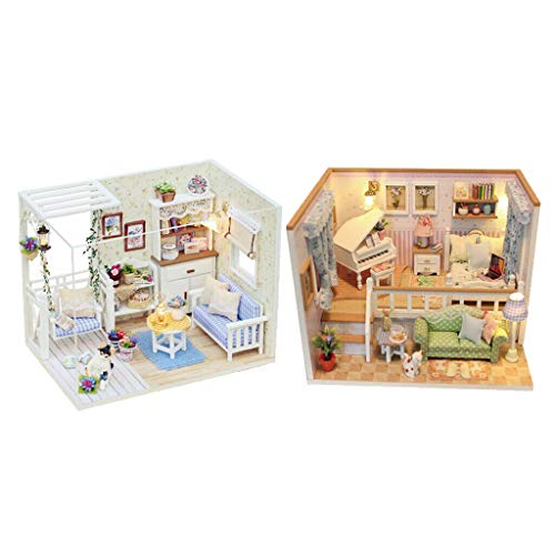 (NATFUR 2 Sets Wooden DIY Dollhouse Furniture Projects Kits w/LED Light Creative Toy)