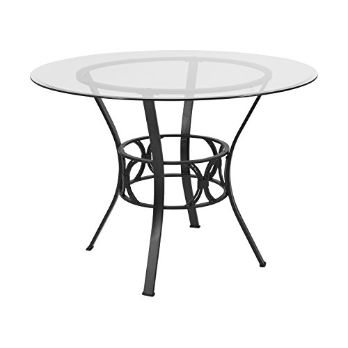 Flash Furniture Carlisle 42'' Round Glass Dining Table with Black Metal Frame (Set Dining Beveled Glass Table)