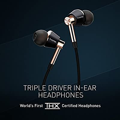 1MORE Triple Driver In-Ear Headphones (Earphones/Earbuds) with Apple iOS and Android Compatible Microphone and Remote (Gold)