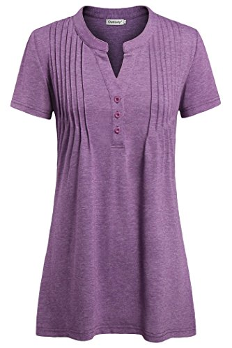 (Ouncuty Ladies Tunic Plus Size, Casual Tunic Short Sleeves V Neck Tops Purple L Women Dressy Shirts Henley Vneck Contemporary Casual Career Flattering Button with Collars Maternity Tunic)