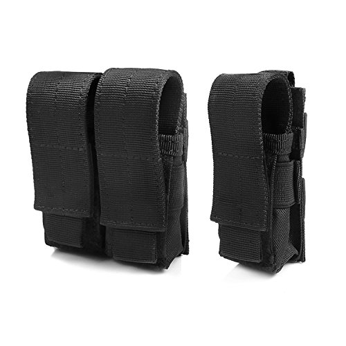 Tactical Pistol Mag Pouch (Triple (2+1) - Black) (Pistol Airsoft Mags)
