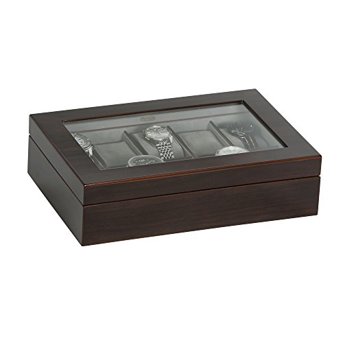 Mahogany Watch Case - Mele & Co. Hudson Glass Top Wooden Watch Box (10 Sections, Mahogany Finish)