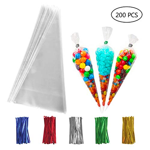 Cone Shaped Bags (200 PCS Clear Cone Treat Bags Cellophane Cone Treat Bags Plastic Cone Bags Triangle Bags with 200 PCS Twist Ties 5 Mix Colors for Favor Candy Popcorn Handmade)