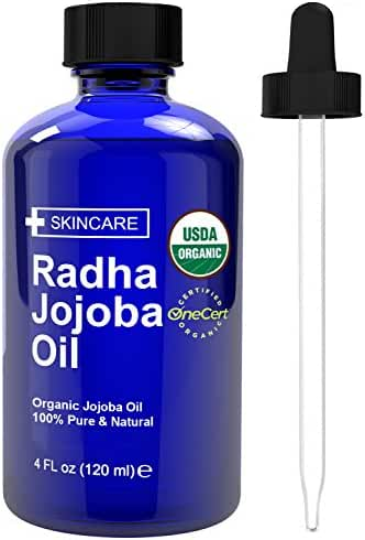 Radha Beauty Organic Jojoba Oil for Hair & Face - USDA Organic 100% Pure & Natural Cold Pressed Unrefined oil - 4 oz