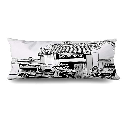 Ahawoso Zippered Body Pillow Cover 20x54 Inches Tuk Door Drawing at Outdoor Tourism in Driver Food Street Eating Bangkok People Artwork Landmarks Decorative Cushion Case Home Decor Pillowcase