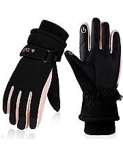 Anjetan Womens Ski Handschoenen Waterdichte Antislip Handschoenen Fleece Gevoerde Warme Handschoen Voor Winter