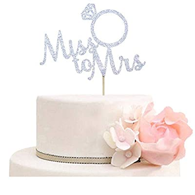 Miss to Mrs with Diamond Ring Cake Topper for Bridal Shower, Wedding, Engagement Party Decorations Silver Glitter
