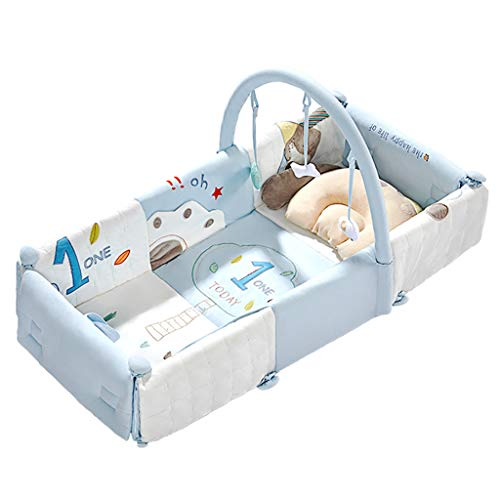 Crib Multifunctional Portable Collapsible Travel Cot Children's Crawling Mat (Color : Blue, Size : 100x45x20cm) ()