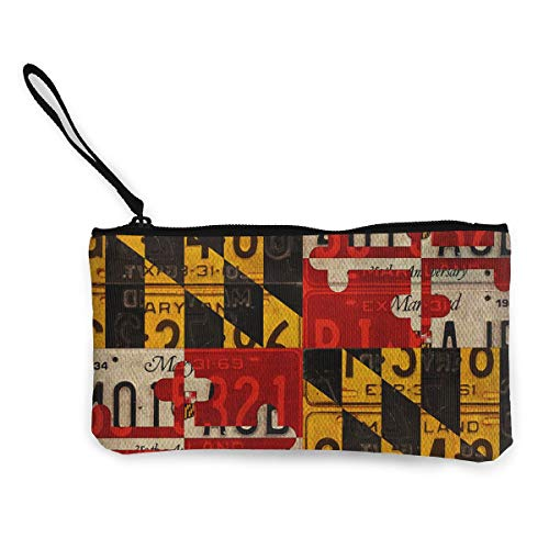 - Maryland State Flag Coin Purse Travel Makeup Pencil Pen Case With Handle Cash Canvas Zipper Pouch 4.7