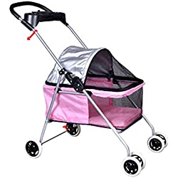 Posh Pet Stroller Pink Dogs Cats with Cup Holder Handle