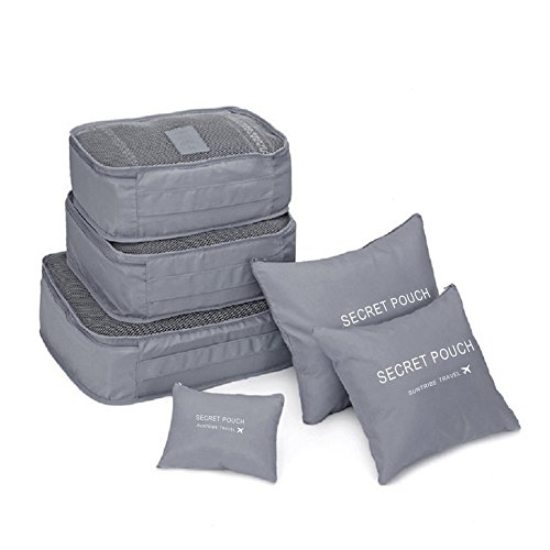 Price comparison product image Travel Packing Cubes, Baynee Set of 6 Travel Storage Bags Luggage Packing Cubes Clothes Organizer Pouch Case