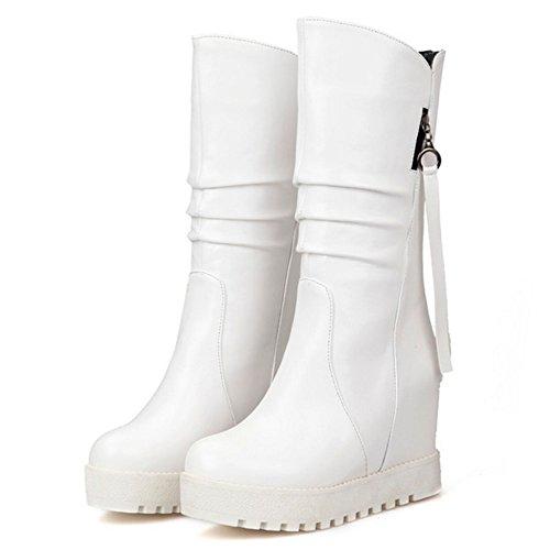 COOLCEPT Slouch con Boots Plateau White Stivali Stivaletti Moda Donna Zeppa 6xUarw6Zvq
