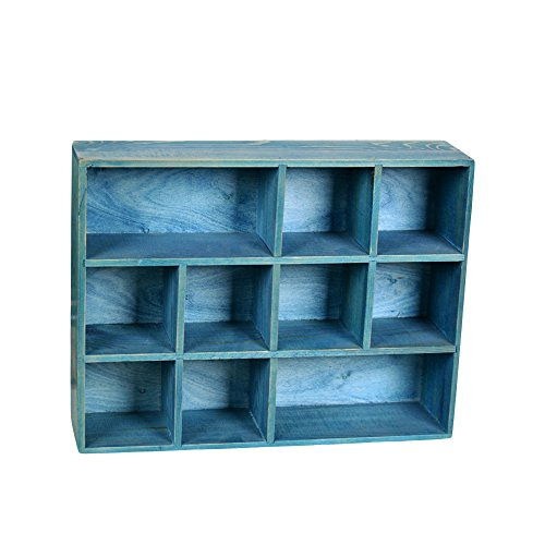12 Grid Drawer Organizer Wooden Divider Storage Box Wood Craft Boxes For Weddings, Crafts (brown), 12W*16L*3.5H Inch (sea blue) (Shadow Box Crafts)