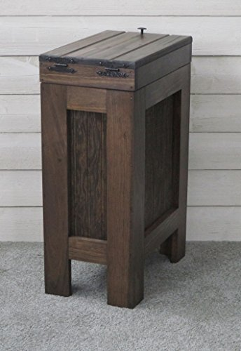 Wooden Wood Trash Bin Kitchen Garbage Can Rectangular 13 Gallon Solid Pine - Walnut Stain - Rustic - Metal Knob - Hand Made in USA by BuffaloWood Shop (Image #1)