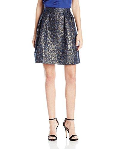 (Anne Klein Women's Metallic Cheetah Skirt, Deep Night Combo, 4)