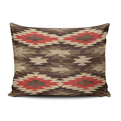 MUKPU Custom Home Decoration Throw Pillowcase Cushion Cover Red Brown Terra Cotta Navajo Pattern Boudoir 12X18 Inches One Side Design (Set of 1)