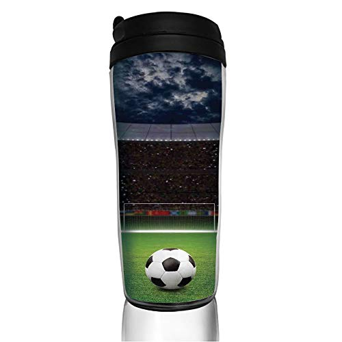 Stainless Steel Insulated Coffee Travel Mug,Stadium Arena in Night Illuminated Cheering Fans,Spill Proof Flip Lid Insulated Coffee cup Keeps Hot or Cold 11.8oz(350 ml) Customizable printing