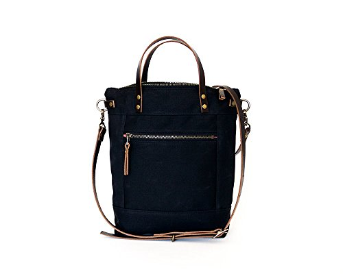 Charcoal Black Small Waxed Canvas Crossbody Handbag with Leather Strap and Solid Brass Hardware by Thread & Canvas Co.
