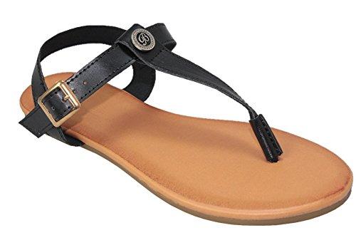 Cambridge Sélectionner Femmes T-sangle Lanière Boucle Slingback Sandale Plate Noir Pu