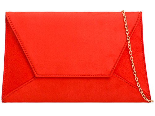 Clutch Hand Evening Wedding Bag Party Ladies ZES Prom Purse Suede Plain Bridal Orange UB0wzq8