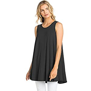 12 Ami Solid Basic Long Tank T-Shirt Tunic (S-3X) – Made in USA