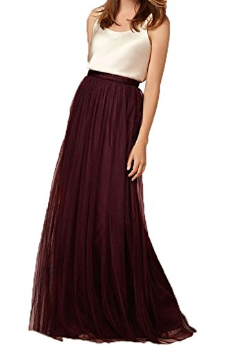 Omelas Womens Long Floor Length Tulle Skirt High Waisted Maxi Tutu Party Dress (Burgundy, XS) -