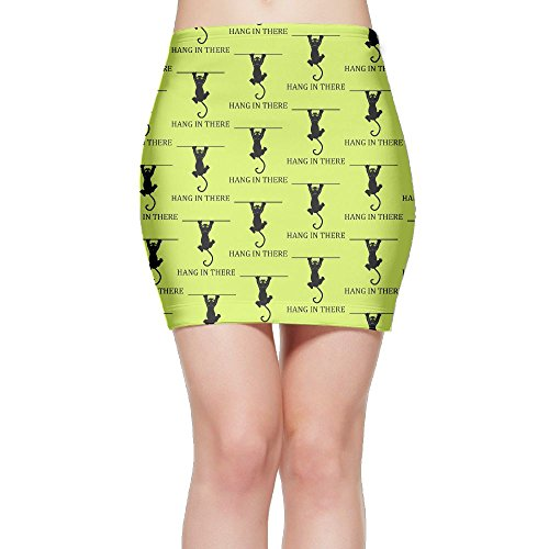 SKIRTS WWE Hang In There Cat Women's Package Hip High Waist Mini Short Skirt by SKIRTS WWE