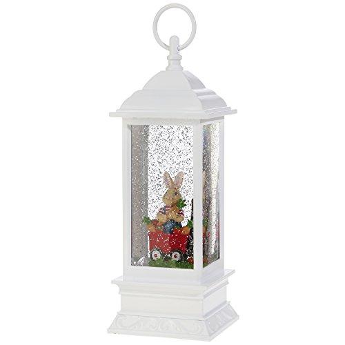 Easter Snow Globe Lantern: 11 Inch, White Glitter Light Up Snow Globe Water Lantern by RAZ Imports (Rabbit in Wagon) ()