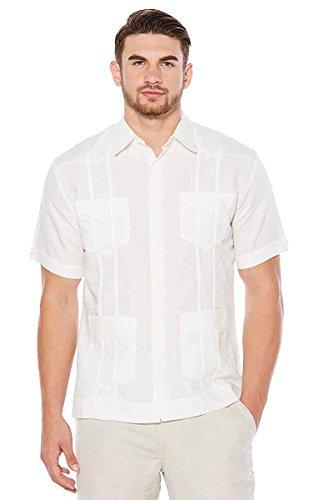 (Cubavera Men's Short Sleeve Embroidered Guayabera Shirt, White, XX-Large)