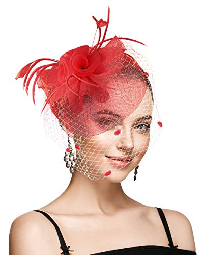 (Fascinators for Women with Veil Wedding Tea Party Hats Headband Kentucky Derby Headwear Cocktail Flower Mesh Feathers Hat Hair Clip (Red))