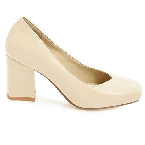 Zapatos Mujer Tacon de Ancho Para Beige RAZAMAZA aw8BqOv6