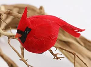 Factory Direct Craft Package of 12 Bright Red Artificial Cardinal Birds for Christmas Tree Ornaments