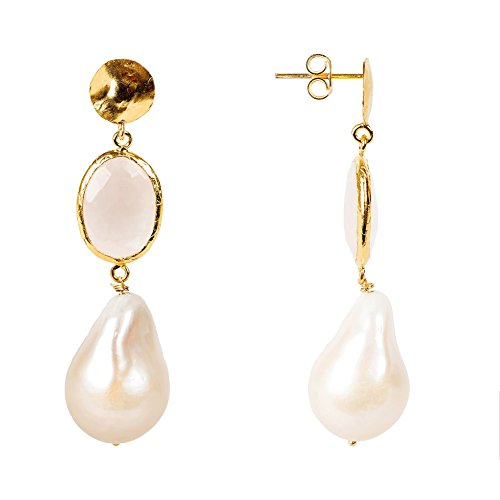 Hydra Baroque Pearl and Rose Quartz Earring Gold