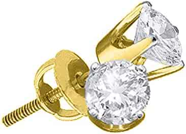 5d431f251 The Diamond Deal 14kt Yellow Gold Unisex Round Diamond Solitaire Stud  Earrings 1/5 Cttw