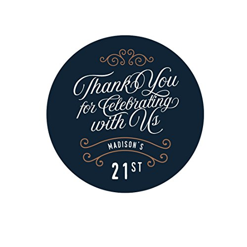 Andaz Press Navy Blue Art Deco Vintage Party Birthday Collection, Personalized Round Circle Label Stickers, Thank You for Celebrating With Us 21 Molly, 40-Pack, Custom Name and Number