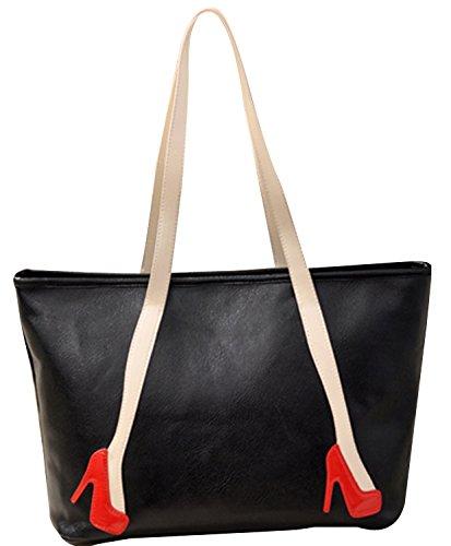 ILISHOP Women's Fahion 2015 High Heels Shoulder Vintage Messenger Handbag Tote (Black)