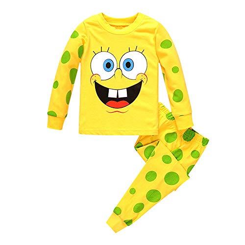 Spongebob Pajamas Kid (Meteora Boys Pajamas Kids Short Sets 100% Cotton Clothes Cartoon Sleepwears (Long Sleeve Spongebob,)