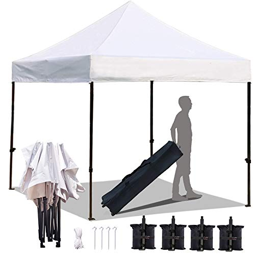KingShade 10 x10 Ez Pop Up Canopy Tent, 10×10 ft Commercial Instant Tents with Heavy Duty Roller Bag, Outdoor Sun and Rain Shelters, Bonus 4 Sandbags, White