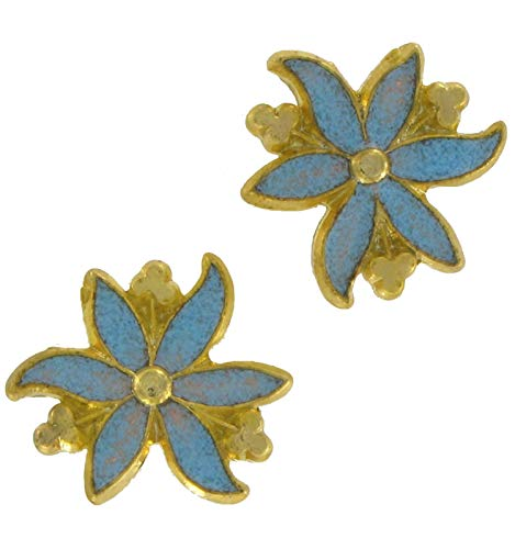 Light Blue Flower Cloisonne Stud Pierced Earrings For Women Set