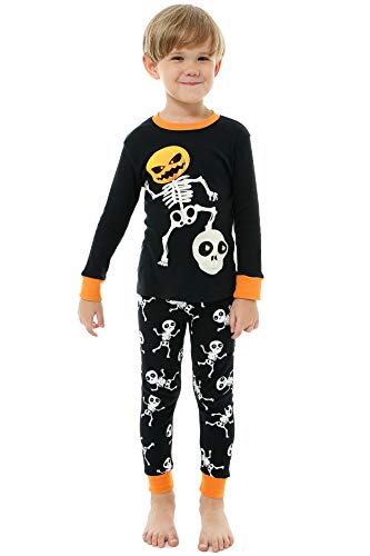 AMGLISE Little Boys Girls Halloween Pajamas Skeleton Glow Pjs Toddler Sleepwear Set -